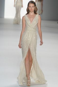 Cowl neck beaded wedding dress by Elie Saab-(-I like the neck line on this one)
