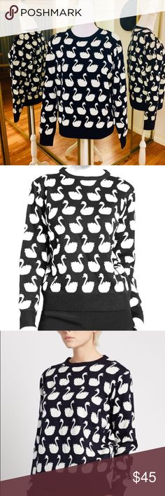 """Kanti Swan Sweater by Kling Blk/Wht Sz Large Black and white swan pattern sweater.  Sz EU 4 USA L • EUC  Measurements • Bust 46"""" • Shoulder to Shoulder 16"""" • Length 24"""" Straight Hemline  Made of 100% acrylic, hand wash cold. Do not  bleach. Do not tumble dry.  • True to size KLING Sweaters Crew & Scoop Necks"""