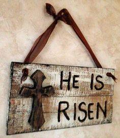 he has risen primitive easter block sign signs he has risen