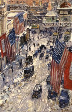 Flags, 57th Street by Childe Hassam | Art Posters & Prints #yesterdayspaintingstoday #fineart #giclee #childehassam #patriotism