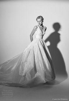 carolina herrera spring 2018 bridal sleeveless v neck wrap over bodice simple satin princess elegant ball gown a  line wedding dress royal train (16) mv -- Carolina Herrera Bridal Spring 2018 Wedding Dresses