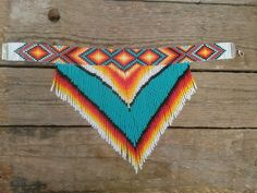 Made of quality Czech beads and neylon thread. Native American Crafts, Native American Beadwork, Native American Fashion, Bead Loom Designs, Beadwork Designs, Native Beading Patterns, Seed Bead Patterns, Beaded Choker Necklace, Fringe Necklace