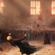 Lord Voldemort is killed by his own rebounding spell in a battle against Harry in the great hall from the Deathly Hallows.