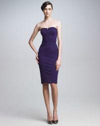 Zac Posen   Purple Strapless Sheath Dress   Lyst