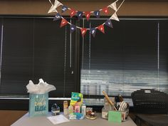 """Baseball Theme Baby Shower   Welcome a """"Little Slugger"""" with a baseball theme baby shower! We thought a miniature banner was too cute for this shower."""