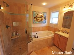 Luxurious master bath with soaking tub, tile shower and double sinks.  Ferguson Dechert Real Estate  Avalon, NJ