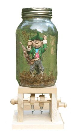 Sleepy Hollow - Delightful, simple wooden toys and fairy houses. Leprechaun in a jar