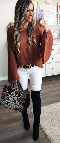 cognac bell sleeve sweater