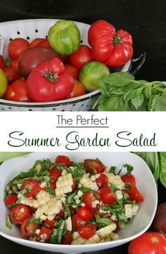 If you are looking for the perfect summer garden salad then look no further. This dish of fresh corn, ripe tomatoes, and fragrant basil is perfection. #salad #picnic #delish