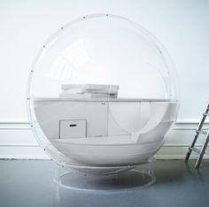 AudioOrb: A Spherical Speaker by StudioTotal has created the first loudspeaker that you can actually sit in. It has 18 speakers and Tempur pillows that conform to your body, designed to evoke a feeling of floating. Limited edition right now.  http://www.indiegogo.com/projects/audioorbs/