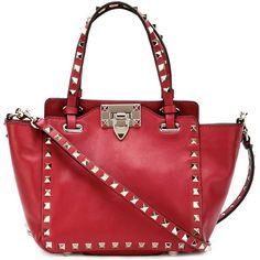 Valentino Garavani Rockstud Mini Tote Bag ($1,270) ❤ liked on Polyvore featuring bags, handbags, tote bags, red, leather totes, red leather purse, tote handbags, red purse and leather handbags