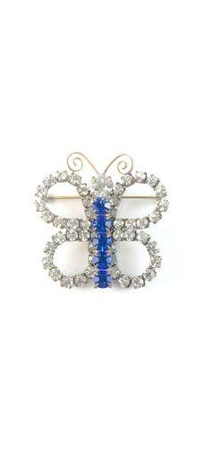 Vintage Rhinestone Butterfly Brooch 1960s Marie Ferra Designer