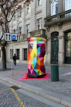 Colorful Geometric Street Art - Street artist Okuda San Miguel has created eccentrically colorful geometric street art pieces