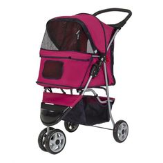 Best Choice Products New Deluxe Folding 3 Wheel Pet Stroller Dog Cat Carrier with Cup Holder Tray, Red
