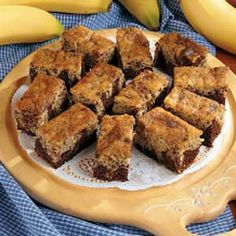 Black Bottom Banana Bars.......substitute applesauce for the butter and use one egg white in place of the whole egg and this is a fat free delicious dessert bar. One of our favorites.