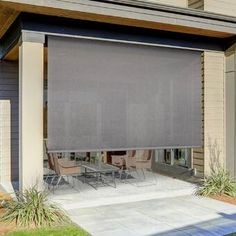 Symple Stuff Semi-Sheer Outdoor Roller Shade Blind Size: x Color: Elder Backyard Patio, Backyard Landscaping, Landscaping Ideas, Outdoor Patio Shades, Porch Shades, Outdoor Spaces, Outdoor Living, Horizontal Blinds, Solar Shades
