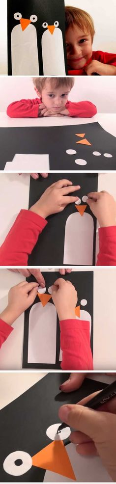 Cute Penguin | 20 + DIY Christmas Cards for Kids to Make