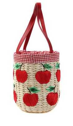 Woven Apple Pattern Gingham Tote Bag