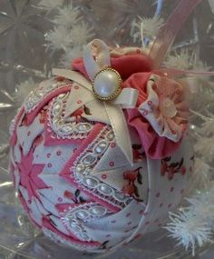 Quilted ball ornament for sale on Etsy