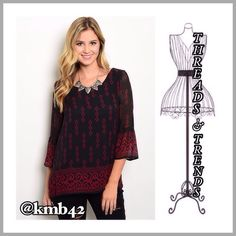 Wine Red Blouse Gorgeous rich color of wine red and black in a baroque and diamond print pattern. 3/4 length bell sleeve. Great for the office, pair with skirts or trousers. Made of a rayon/poly blend. Size S, M, L Threads & Trends Tops Blouses
