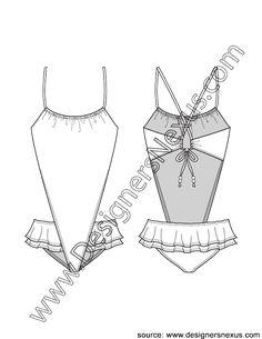 V-Shaped Monokini Swimsuit with Ruffled Skirt V2 Fashion Flat Sketch