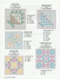 QUILT BLOCK FRIDGIES 4 Plastic Canvas Stitches, Plastic Canvas Coasters, Plastic Canvas Tissue Boxes, Plastic Canvas Crafts, Plastic Canvas Patterns, Needlepoint Patterns, Quilt Block Patterns, Quilt Blocks, Cross Stitch Pictures