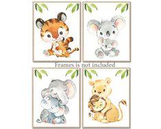 baby nursery decor, jungle animale print, safari Nursery decor, canvas set of 4 baby boy watercolor Nursery Animal print playroom by irinnadesign on Etsy