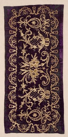Embroidered 'yastık' (cushion cover). Late-Ottoman, 1850-1900.  'Goldwork' (Maraş işi) on velvet.  Additional: small metallic sequins and metallic spiral threads in gold and silver.
