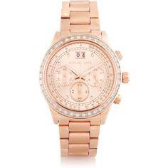 Michael Kors Brinkley crystal-embellished rose gold-tone watch found on Polyvore