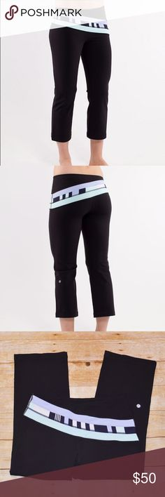 """Lululemon Retro Rainbow Crop Black/Discover Stripe Hard to find Lululemon Retro Rainbow Crop in Black/Lavender Dusk/Discover Stripe White Deep Indigo. Smooth, wide waistband, hidden waistband pocket & chafe-resistant flat seams.  Size: 8  Measurements Laying Flat -  Waist: 15"""" Hips: 17"""" Inseam: 23"""" Rise: 8""""  Condition: EUC. Very light fuzzing, no pilling.  XX No Trades XX - Please use offer button to make an offer. lululemon athletica Pants Ankle & Cropped"""