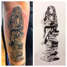 """Mainland Ink - Fremont, CA, United States. The classic """"thinker"""" crafted into a loc wearing female reading a book and sitting on a stack of books."""