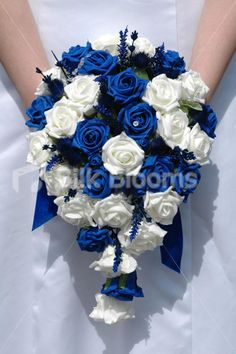 Wedding bouquet royal blue artificial roses with a rhinestone blue ivory teardrop bridal bouquet w thistles roses crystals mightylinksfo