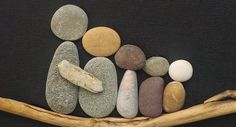 Pebble Art by Two Kissing Fish Family 8x10 by TwoKissingFish