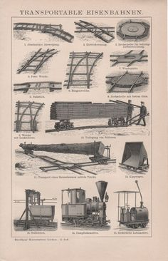 1898 Portable Railways Antique Print Train Tracks by Craftissimo