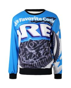 Oreo Print Md-long Loose Sweatshirt | BlackFive