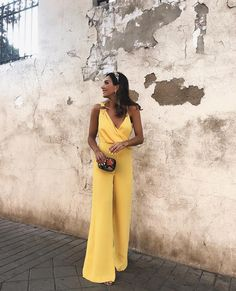Yellow Asymmetric Shoulder Cross Ruched V-neck High Waisted Wide Leg Elegant Long Jumpsuit Long Jumpsuits, Jumpsuits For Women, Fashion Colours, Pink Fashion, Fashion Moda, Fashion Bags, Fiesta Outfit, Elegant Outfit, Ideias Fashion