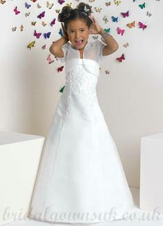 A line Strapless Tulle Embroidery White Wholesale Best Pageant Dress