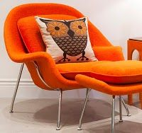 owl, mid-century modern, design trend,orange, pillow,decorating