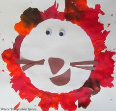 Blow painting lion craft from Where Imagination Grows