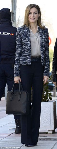 Queen Letizia- Hugo Boss wide leg trousers