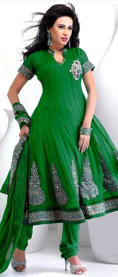 Green Faux Chiffon Flair Churidar #Kameez with #Dupatta | $106.24