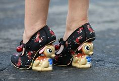 Quirky: One lady showed off a rather unique sense of style courtesy of pair of fun Bambi-i...