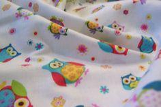 131cm x 110cm Eulen Owls Blumen Blüten Markenstoff Baumwollstoff Blank Quilting