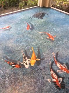 Art and design by Louise Moorman. Floor painting. Trompe l'oeil koi fish pond.