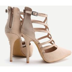 e8b879b07b9 SheIn(sheinside) Apricot Cutout Zipper Back Stiletto Heels ( 37) ❤ liked on  Polyvore featuring shoes