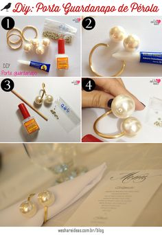 Tal v - Diy Schmuck Trends Diy Rings, Diy Napkin Rings, Napkin Folding, Deco Table, Decoration Table, Diy Party, Diy Wedding, Diy Home Decor, Diy And Crafts