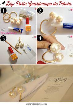 porta-guardanapo de pérolas, enfeite para guardanapo, napkin perl, diy, faça você mesmo
