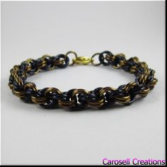 Chainmaille Bracelet Bronze and Black Double Spiral by carosell TAGS - Jewelry, Bracelets, Chain bracelet, Link Bracelet, carosell creations, chain bracelet,  chainmaille bracelet, chainmail bracelet, chain mail bracelet, chainmaille jewelry, spiral bracelet, chain jewelry, link bracelet, bronze bracelet, black bracelet, mens black bracelet, unisex bracelet, etsy, women, ladies, accessories