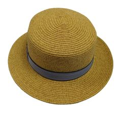 Straw Boater Hat with Striped Band f197bc928660
