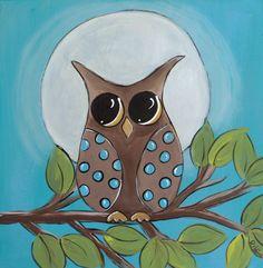 Midnight owl painting.